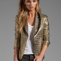Diane von Furstenberg RUNWAY Ofelia Metallic Jacket in Gold/Black from REVOLVEclothing.com