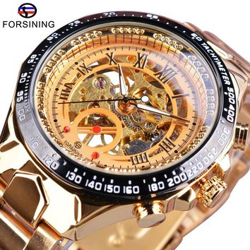 Forsining Stylish Open Work Design Golden Stainless Steel Number Sport Bezel Mens Watch Top Brand Luxury Automatic Wrist Watches