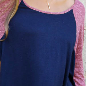 Color Block Round Neck Asymmetric Knit Tee