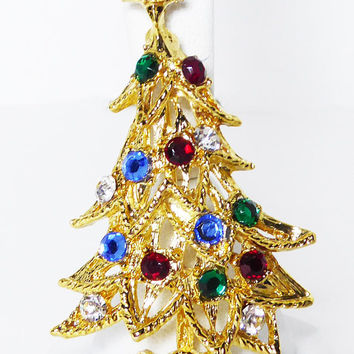 Vintage Rhinestone Christmas Tree Pin - Gold Tone Curled Branch Tree - Multi Colored Rhinestones Modern 1980s 1990s Winter Holiday Brooch