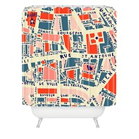 Holli Zollinger Paris Map Blue Shower Curtain