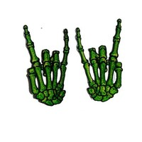 Novelty Iron On Patch - Creepy Zombie Dead Green Skeleton Devil Hands Applique