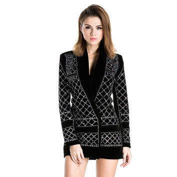 Free Shipping Missord 2015 Sexy V-neck long-sleeved geometric studded blazer dress FT3612 Rhinestone