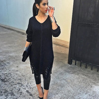 Black Loose Knitted Sweater Dress