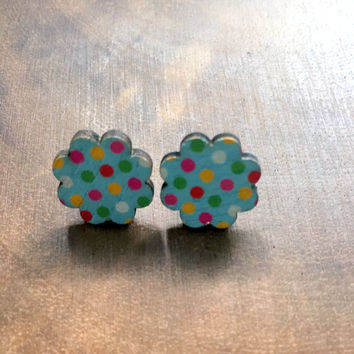 Flower Post Earrings Wood Post Earrings Polka Dot Earrings Kawaii Earrings Wood Stud Post Earrings, Kawaii Jewelry, Ear Candy, Teen Earrings