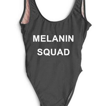 MELANIN SQUAD Text Print - Women's Sexy Thong One-Piece Swimsuit - Backless