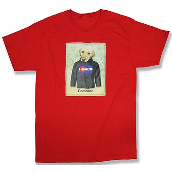 Durango: Yellow Lab in a Colorado Flag Hoodie, Red