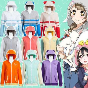 CREY6F 9Colors LoveLive! School Idol Project Hooded Hoodie Cosplay Costumes LoveLive u's Zoo Jacket Sweatshirts Daily Sportswear