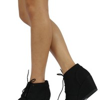 "City Classified Women's Rex Almond Toe Lace Up Hidden Wedge 2 3/4"" Ankle Bootie"