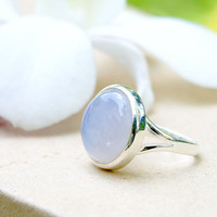 Blue Chalcedony Ring,Pink Quartz Ring,Geode ring,gemstone ring,Agate ring,Mothers day gift,Mom ring,Mother jewelry,Woman ring