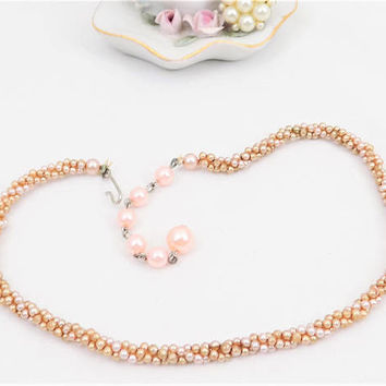 Multi Pearl Choker, Champagne and Pink, Adjustable Hook Clasp, Small Faux Pearl Strands