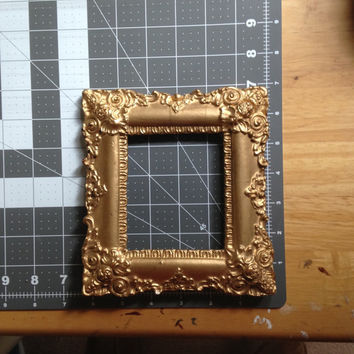 Antique Victorian Frame Gilt Gold Frame 19th Century English Rococco Wooden Frame Painted Gold Small Ornate Victorian Frame