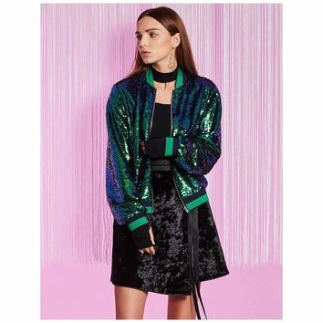 Mermaid Sequins Bomber Jacket