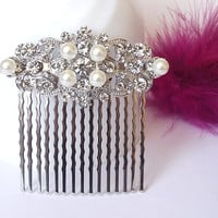 Vintage style bridal hair comb, crystal brooch hair comb, wedding hair accessories, crystal bridal hair comb hair piece, wedding hair comb
