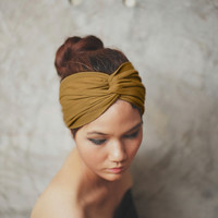 Golden Brown,Turban Twist headband, Plain color collection