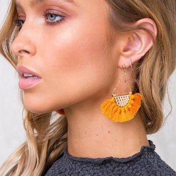 Fringe Drop Earrings - 12 Colors