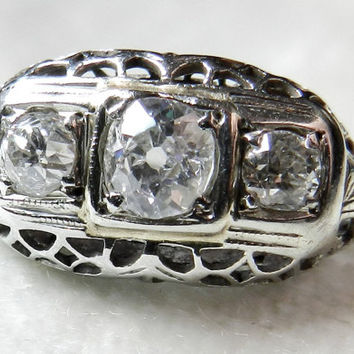 Antique Engagement Ring .71 Ct Mine Cut 14K White Gold Mine Cushion Cut Diamond Ring 1910s Three Stone Ring