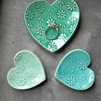 Valentines Gift Set Heart Ceramic Ring Dish Mint and Turquoise Love Pottery Plate Flower Jewelry Dish Set of 3