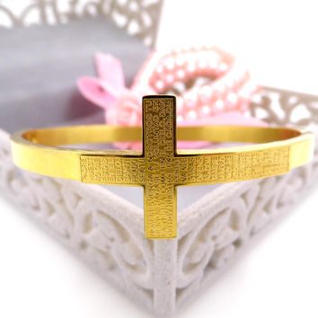 Fashion 18K Gold Plated Cross Bible Bangles Jesus Stainless Steel Cuff Jewelry Vintage Charm Scripture Cross Bracelets Bangles