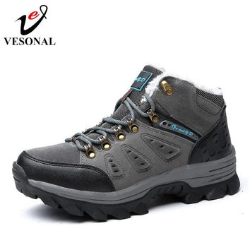 VESONAL Winter With Fur Snow Boots For Men Sneakers Male Shoes Adult Casual Quality Waterproof Unisex Rubber Ankle Warm Boots