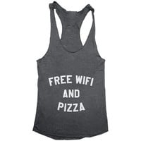 Free wifi and pizza  Tank top racerback funny slogan fashion hipster cute women girls teens food sassy