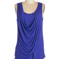 ModCloth Long Sleeveless Draped in Delight Top in Royal Blue