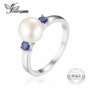 JewelryPalace 3 Stones 8mm Cultured Freshwater Pearl Round Blue Created Sapphire Ring For Women 925 Sterling Silver Jewelry Gift