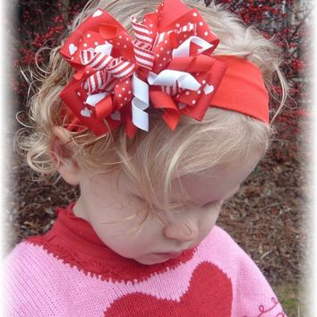 Valentines Day Red Hearts White dots Hair Bow Headband or Clip Bowband Portraits Photo Prop Baby Infant Toddler  Girls