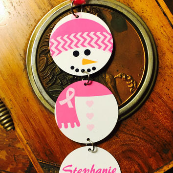 Personalized Aluminum Pink Ribbon Snowman Christmas Ornament
