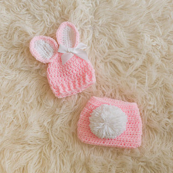 Newborn Bunny Hat And Diaper Cover Set by VioletsPlayground
