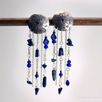 Vintage Sterling Concho Earrings with Lazuli Accents