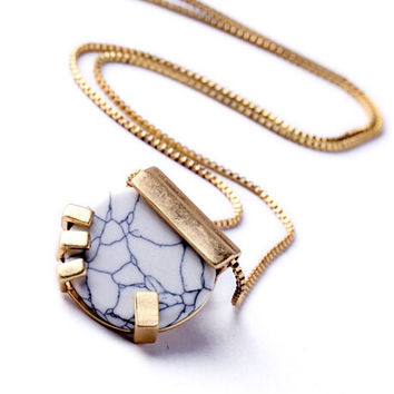 New Trendy Design Jewelry OL White Crack Resin Stones Long Necklace For Woman  Christmas Gift
