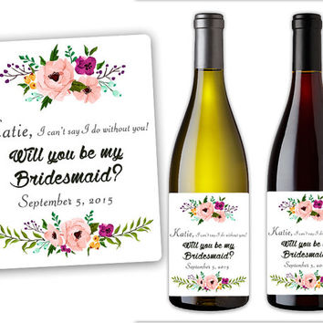 Will You Be My Bridesmaid Wine Bottle Label Set - Custom Wine Bottle Labels - Champagne Bottle Labels Maid of Honor - Champagne Bottle Label