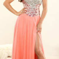 (PRE-ORDER) Terani 2014 Prom Dresses - Coral Crystal & Chiffon Strapless Sweetheart Gown