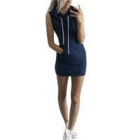New Fashion Summer Women Dress Casual Hooded Bodycon Mini Dress Party Slim Sexy Club Stripe Pocket Dresses Plus Size
