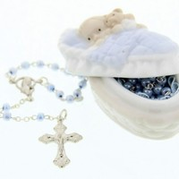 Baby Boy Rosary in Porcelain Rosary Box