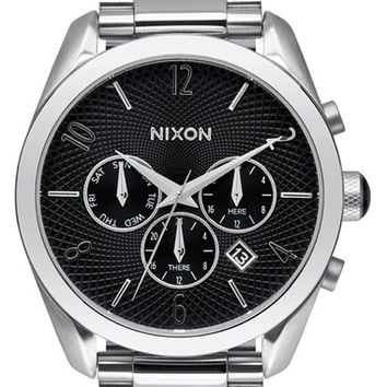 Women's Nixon 'Bullet' Chronograph Bracelet Watch, 42mm - Silver/ Black