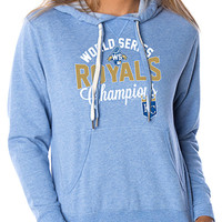 KC Royals Royals Womens Navy Screen Print Long Sleeve Full Zip