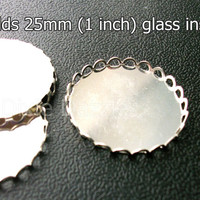 20 pieces 25 mm 1 inch silver lace edge pendant trays, bezel settings, holds 25mm cabochon, fancy setting,