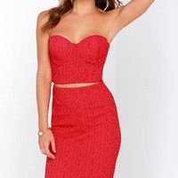 Everybody Flirts Red Lace Two-Piece Dress