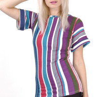 Vintage Striped Multi Color Tunic Top