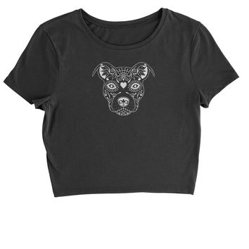 Pitbull Sugar Skull Day Of The Dead  Cropped T-Shirt