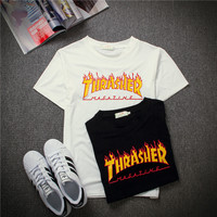 """""""THRASHER"""" Fashion Casual Flame Letter Print Short Sleeve Loose Unisex T-shirt  Couple Shirt Top Tee"""