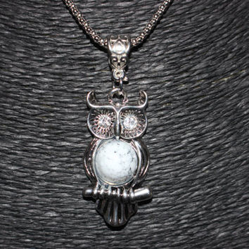 Silver Owl with White Stone Pendant Necklace