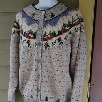 Vintage Woolrich Nordic Fair Isle Log Cabin Winter Scene Xmas Ski Cardigan Sweater Size Medium