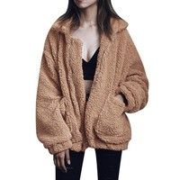 Plus Size S-3XL Women Fashion Fluffy Shaggy Faux Fur Warm Winter Coat Cardigan Bomber Jacket Lady Coats Zipper Outwear Jackets