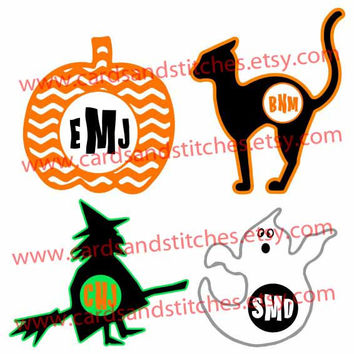 Halloween Monogram Frames - Chevron Pumpkin - Cat - Witch - Ghost - Digital Cutting File - Graphic Design - Instant Download - SVG, DXF, JPG