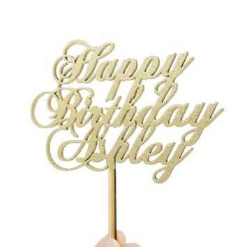 Custom Personalized Name Gold Glitter Happy Birthday Wooden Cake Topper Cursive Calligraphy