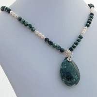 Seraphinite and Pearl Pendant Necklace, Gemstone Bead and Sterling Silver Pendant Necklace