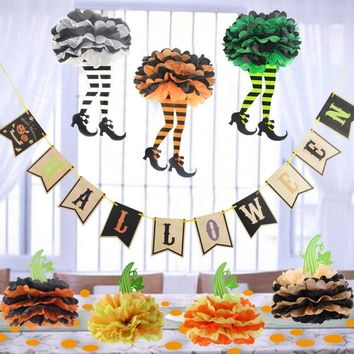 Vintage Halloween Decoration Set Halloween Banner Paper Pumpkin Witch Legs Skirt Pom Pom Flowers Confetti Kids Party Supplies